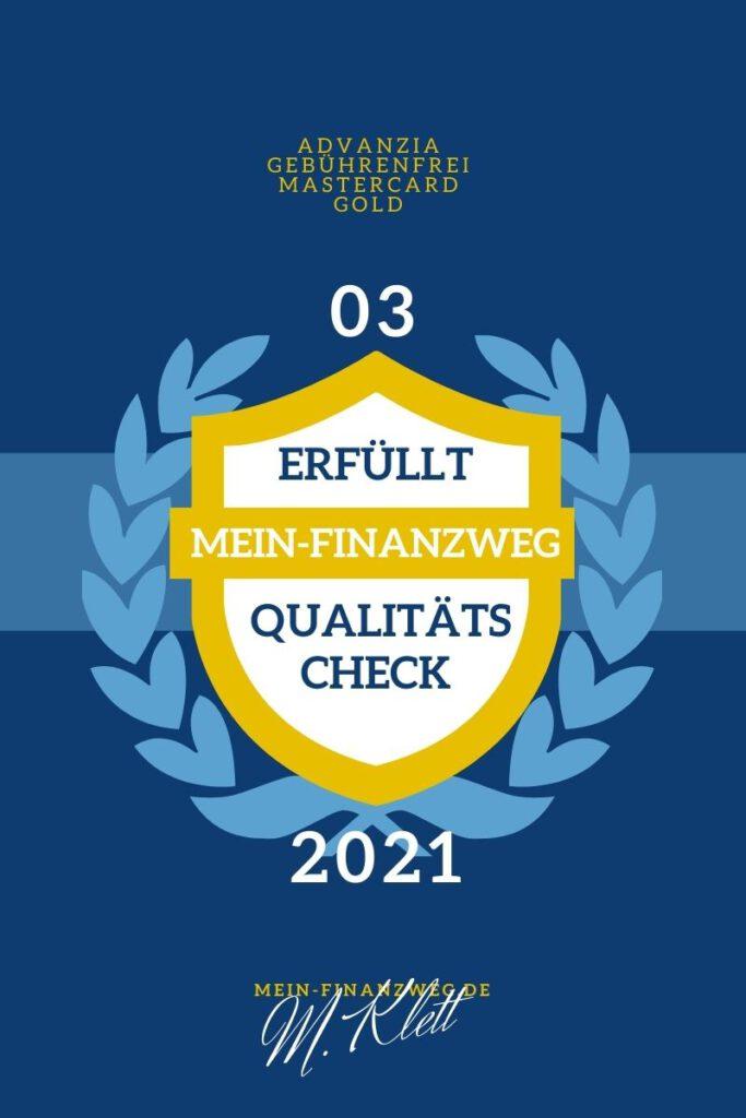 mein_finanzweg.de Qualitätssiegel advanzia geührenfrei mastercard gold